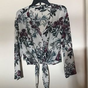 ONE CLOTHING TIE FRONT BLOUSE